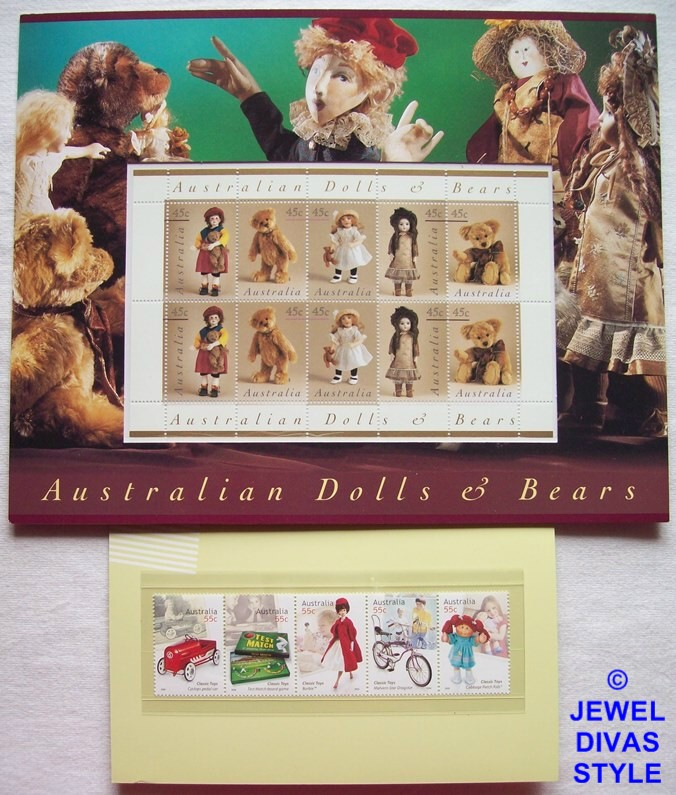 AUSTRALIAN DOLLS AND BEARS, TOY STAMPS