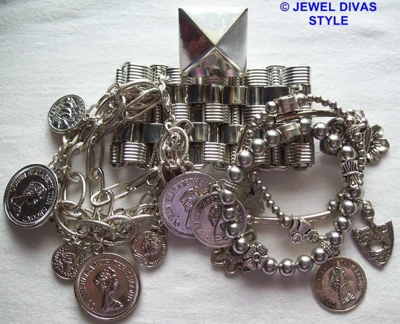 silver metal bracelet stack