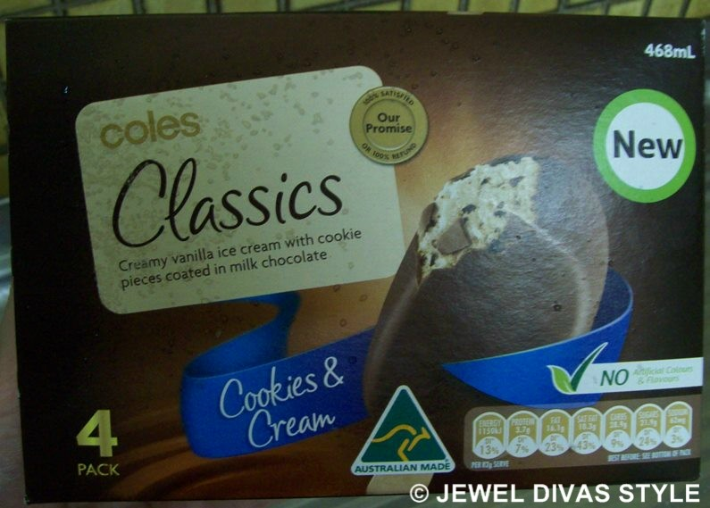 FOOD STYLE: Coles Classics Cookies and Cream ice cream