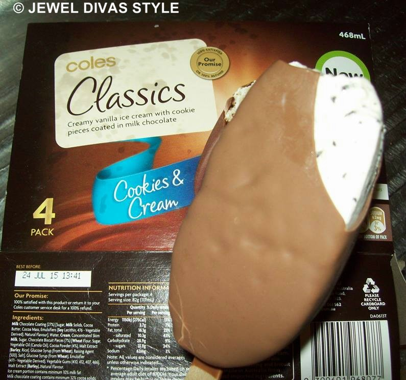 COLES CLASSICS COOKIES AND CREAM ICE CREAMS