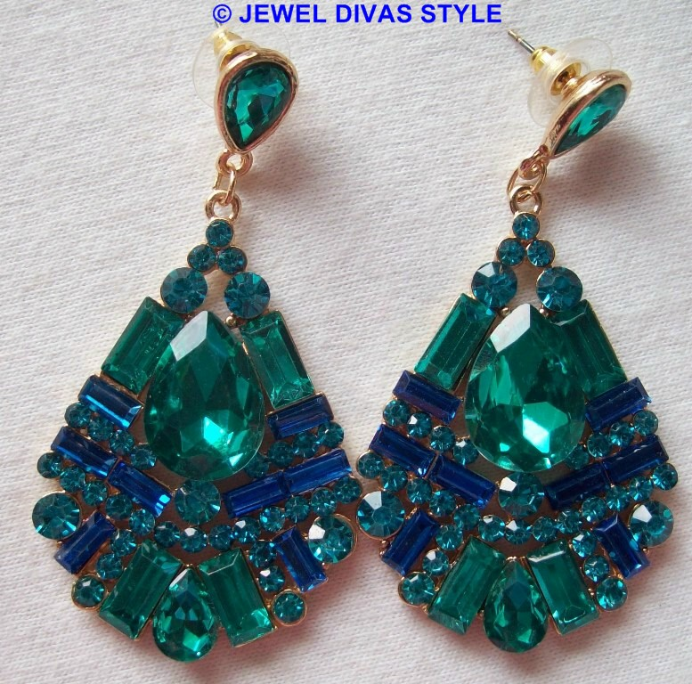GREEN AND BLUE COLETTE EARRINGS