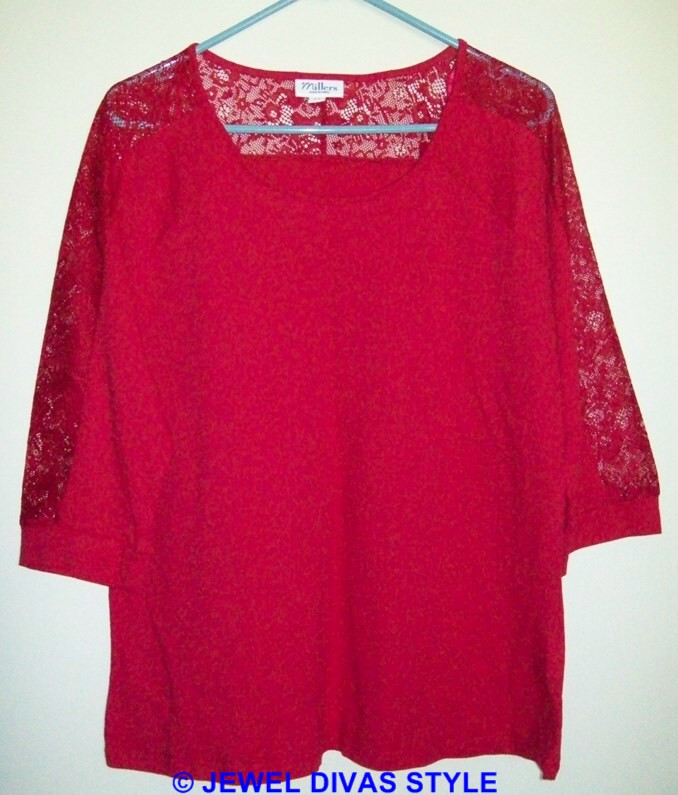 Millers red lace top