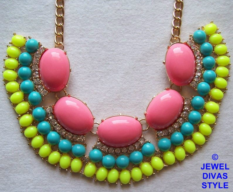 Pink, blue and yellow ebay necklace