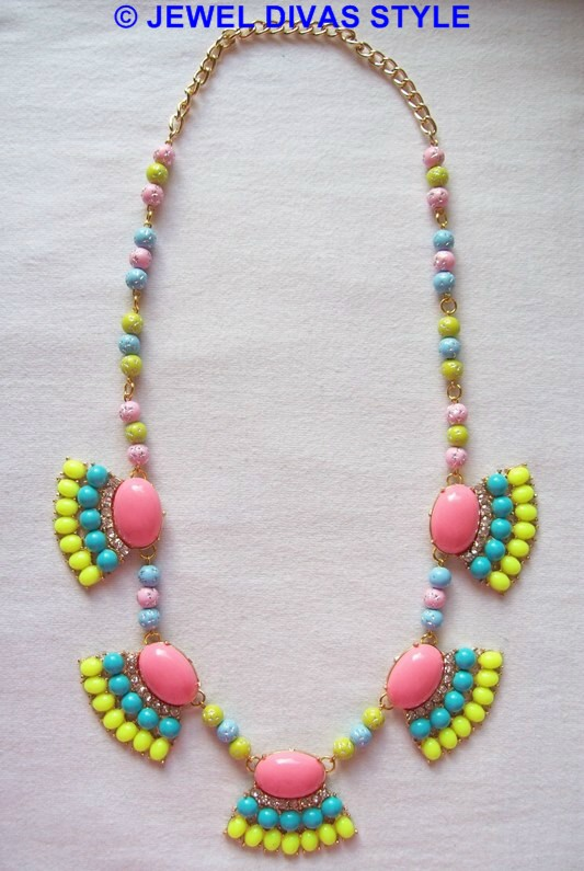 pink, blue and yellow necklace remade the Jewel Divas way!