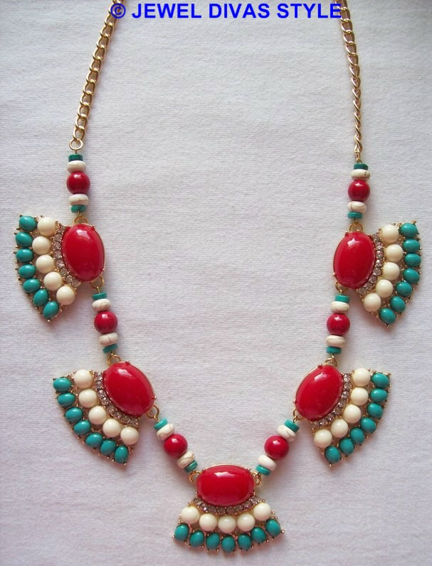 red, blue and white ebay necklace remade the Jewel Divas way!