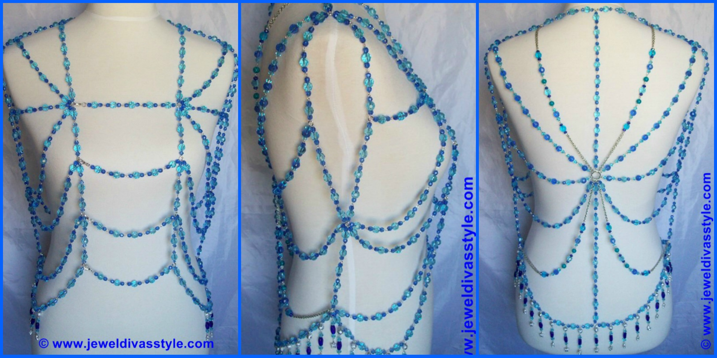 JEWEL DIVAS BLUE VELVET BODY VEST COUTURE