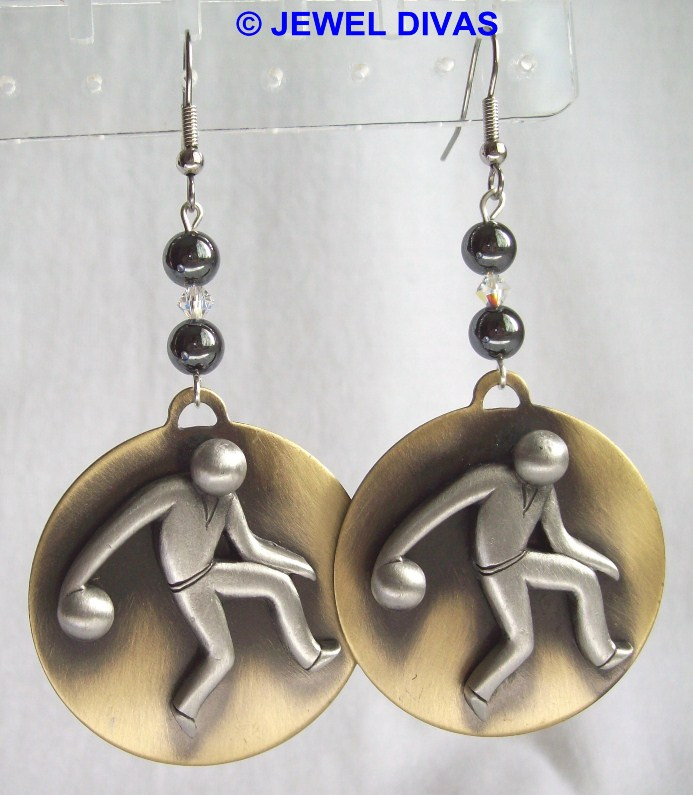 "JEWEL DIVAS ""BOWLING MAN"" EARRINGS"