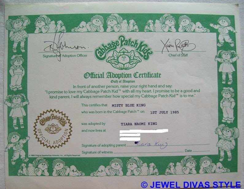 CABBAGE PATCH KID ADOPTION CERTIFICATE