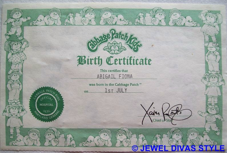 CABBAGE PATCH KID BIRTH CERTIFICATE