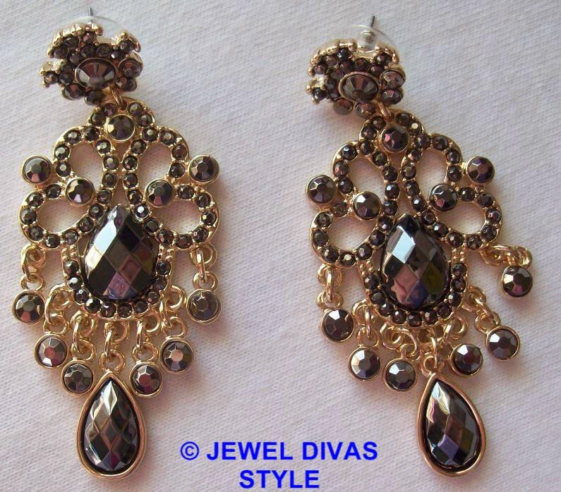 grey gold earrings