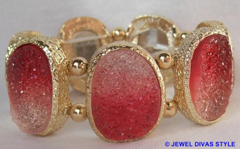 Lovisa red druzy bracelet