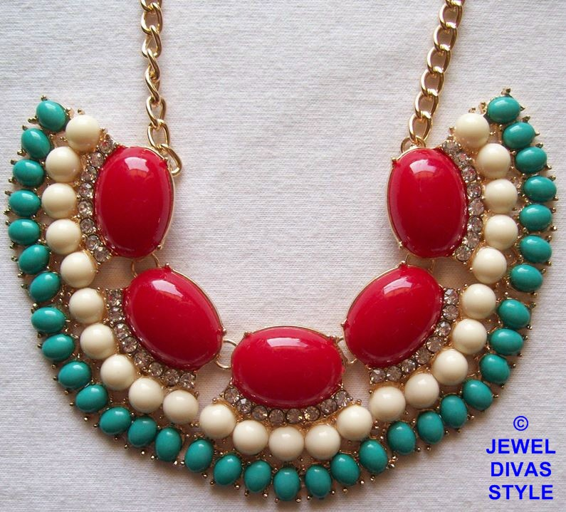 Red, blue and white ebay necklace