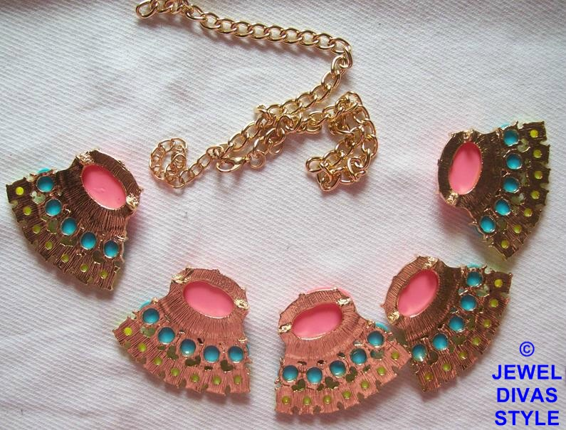 pink, blue and yellow ebay necklace undone