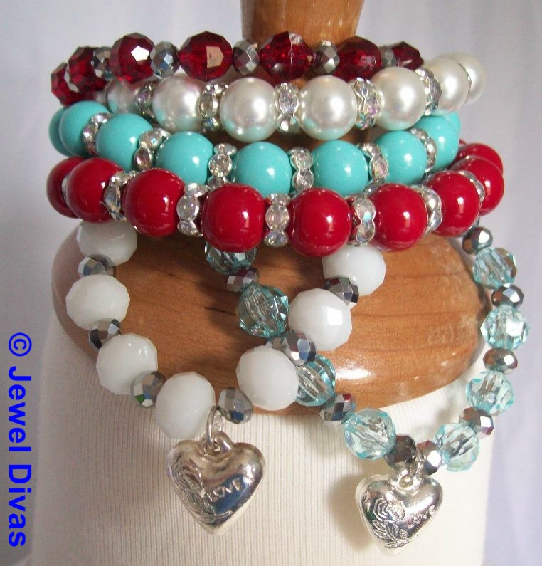 "JEWEL DIVAS ""AUSTRALIA DAY"" BRACELET STACK"