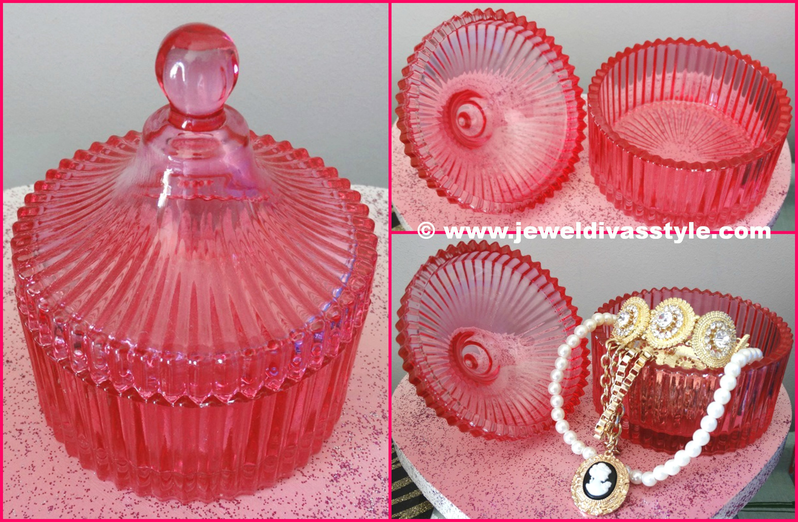 PINK GLASS CONTAINER