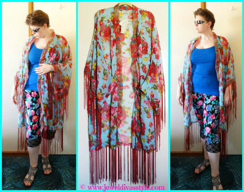 JDS - KIMONO - BLUE AND PINK FLORAL